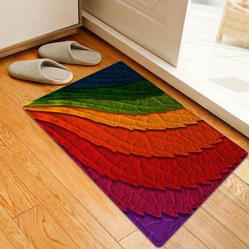 Colorful Leaves Pattern Water Absorption Area Rug