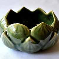 "Ceramic FLOWER SHAPED BOWL Asian Green Lotus Petals Small Round Asia Imported Floral Blossom Kitchen Home Decor 4.5"" Diameter 2"" Height New"