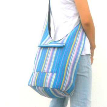 Crossbody Bag Bohemian Bag Hobo Bag Hippie Bag Messenger Shoulder Bag Purse Handbag boho Gift Thai Bag Handmade Everyday Bag Light Blue