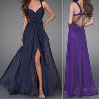 Chiffon Formal Prom Long Bridesmaid Bridal Evening Party Dress Wedding Ball Gown