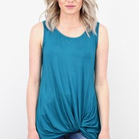 Twisted Up Basic Tank Top {Teal}