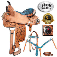 Turquoise Zebra Cross Barrel Racing Western Horse Saddle