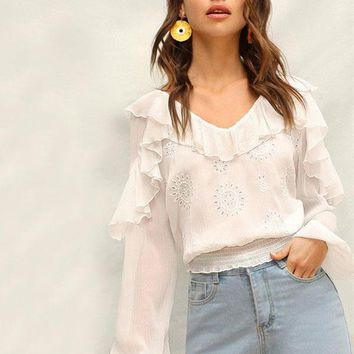 Isabella Embroidered Ruffle Top