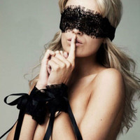 2016 New Women's Sexy Lingerie Black Lace Eye Covers With 1 Pair Hand Wrap Gloves Hot