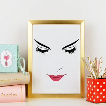 Pink Lips,Makeup Print,Bathroom Wall Art,Lashes Art,Bathroom Wall Decor,Gift For Her,Art,MAKEUP DIGITAL ART,Wake Up And Makeup,Lips,Lashes