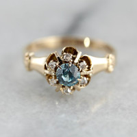 Beautiful Blue Zircon in Victorian Era Mounting 0H5LML-D