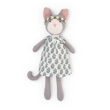 Gracie Cat with Flower Crown & Liberty London Dress - Hazel Village Doll
