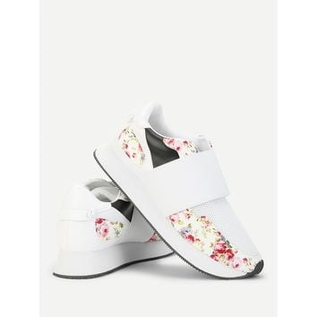 Flower Print Low Top Sneakers