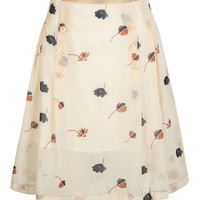 White Floral Print Button Front Pleated Skirt