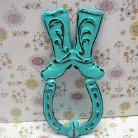 Cowboy Cowgirl Country Western Boot Horseshoe Cast Iron Hook Bright Turquoise Blue Shabby Style Chic Leash Horse Shoe Ranch Barn Farmhouse