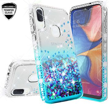 Samsung Galaxy A20 Case Liquid Glitter Phone Case Waterfall Floating Quicksand Bling Sparkle Cute Protective Girls Women Cover for Samsung Galaxy A20 W/Temper Glass- Teal