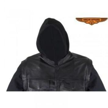 Mens Black Naked Cowhide Leather Jacket with Removable Canvas Sleeves & Hoodie