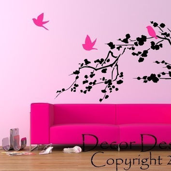 Large Birds Around The Cherry Blossom Branch Vinyl Wall Decal Sticker