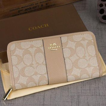 DCCKJG8 Coach Women Leather Zipper Wallet Purse