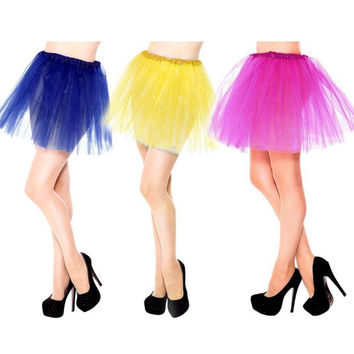 Cute Pretty Girl Dress Adorable Elastic Solid Ball Gown Stretchy Tulle Dress Adult Tutu 3 Layer Dress