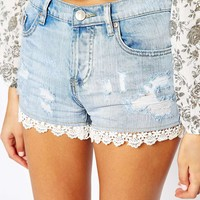 Glamorous Petite Crochet Trim Denim Short