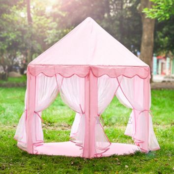 Princess Castle Tent Large Space Children Play Tent for Kids Indoor & Outdoor Pink Playhouse Perfect Gift for Kids tent children