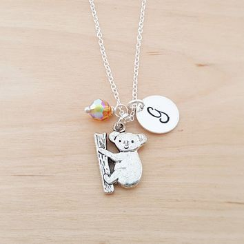 Koala Bear Charm Necklace -  Swarovski Birthstone - Custom Initial - Personalized Sterling Silver Necklace / Gift for Her - Koala Bear Charm