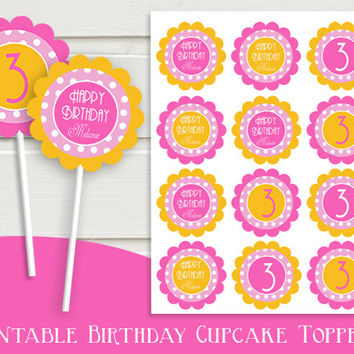 Happy Birthday Cupcake Toppers - Printable PSD File - High Quality 300 DPI- Customized -Party Printables