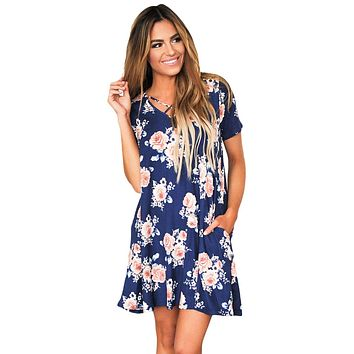 Blue Cross Strap Neck Summer Floral Dress