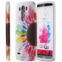 Fosmon MATT-DESIGN Rubberized Protective Hard Case for LG G3 [All carriers] - Retail Packaging (Colorful Sunflower)