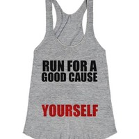 Run For A Good Cause..yourself-Female Athletic Grey Tank
