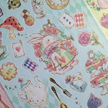 Alice in wonderland sticker fairy tale story sticker little princess rabbit cat seal sticker Princess party theme Series label scrapbook