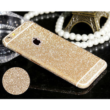 For iPhone 4 4s 5 5S 6 6S 6 6S Plus Hot selling Full Body Glitter Bling Phone Sticker Matte Screen Protector