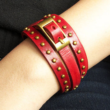 3 Circles Red Leather Wrap Bracelet Adjustable With Metal Rivets & Copper Buckle
