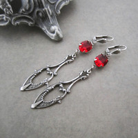 Victorian Gothic Earrings - Blood Red Glass - Vampire Wedding - Ornate Silver