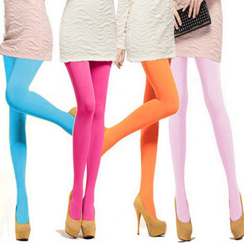 1 Pair New Fashion Multi Colors Women Girl Sexy Pantyhose Nylon Footed Tights Seamless Velvet Stockings for Lady Leg Warmer Thin