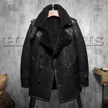 Black lapel Men's Shearling Leather Jacket Long Style Men's Fur Coat Aviation Leathercraft Parka