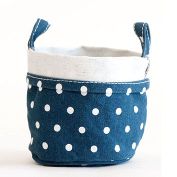 Navy Dots Recycled Canvas Bucket