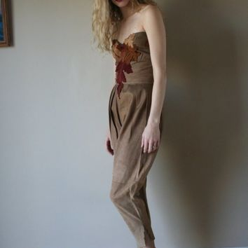 1970's Leather Jumpsuit / Roberto Cavalli / NEW WITH TAGS / Leaf Leather and Suede Patchwork Pantsuit / Stagewear / Size Extra Small-Small