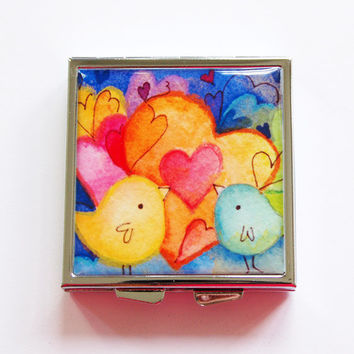 Pill Case, Pill Box, Hearts, Birds, Square Pill box, Square Pill case, 4 Sections, Lauren Alexander, bright colors (4078)