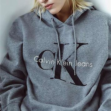 calvin klein grey long sleeve pullover sweatshirt top sweater hoodie