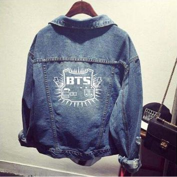 bts kpop clothes Shirt denim jacket hole coat female Baseball k-pop bts Bangtan Boys uniform Hoodie Outerwears tops Sweatshirts