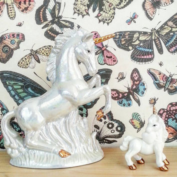 2 Unicorns- Fantasy- Kitsch Decor- Vintage Figurine- Room Decor- Home Decor- Boho Decor- Collectible- Unicorn Lot- Bohemian- Ceramic- Statue