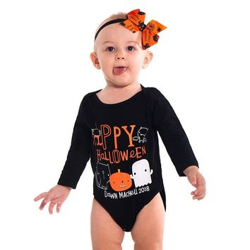 Toddler Baby Girls Boys Letter Pumpkin Printed Romper Jumpsuit Halloween Costume Outfits Cotton Long Sleeve Baby Kids Clothing