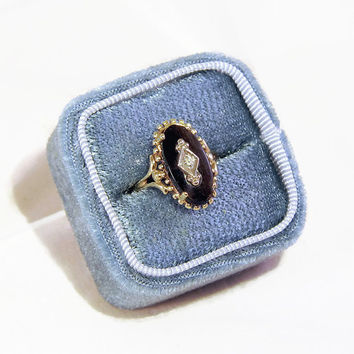 SALE Antique Victorian Ring, Antique Gold Ring with Onyx, Diamond and 10k Yellow Gold, Size 5.5