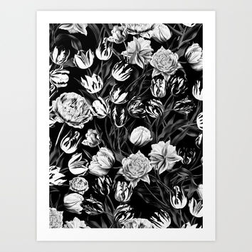 Black & White Floral pattern Art Print by burcukorkmazyurek