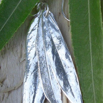 WOODS AND WILLOW!  Fine Silver Earrings Made from Real Weeping Willow Leaves, Artisan Earrings, Botannical Earrings