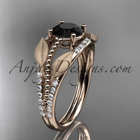 14kt rose gold diamond leaf and vine wedding ring, engagement ring with Black Diamond center stone ADLR75