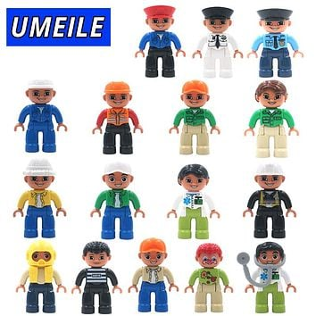 UMEILE Original City Series Policeman/Thief/Doctor/Nurse Figure Large Particle Building Blocks Baby Toy Compatible with Duplo