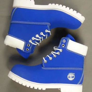 Timberland Rhubarb boots for men and women shoes waterproof Martin boots lovers Sapphire blue