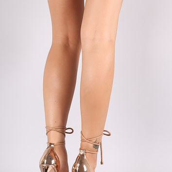 Mirror Metallic Open Toe Lucite Strap Rope Lace Up Stiletto Heel