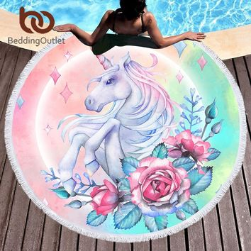 BeddingOutlet Unicorn Rose Girly Large Round Beach Towel Floral Microfiber Cartoon Bath Towel Tassel Blue Pink Green Tapestry