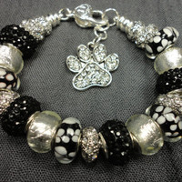 Black and White Flowers, White Foil, and Silver European Charm Bracelet/Dog Lover/Dog Paw Charm