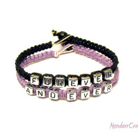 Couples Bracelet Set, Forever And Ever, Light Purple and Black Macrame Hemp Jewelry, Made to Order