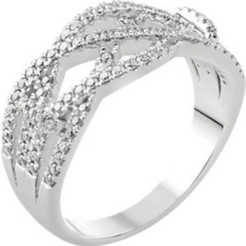 14K White 3-8 CTW Diamond Criss-Cross Ring